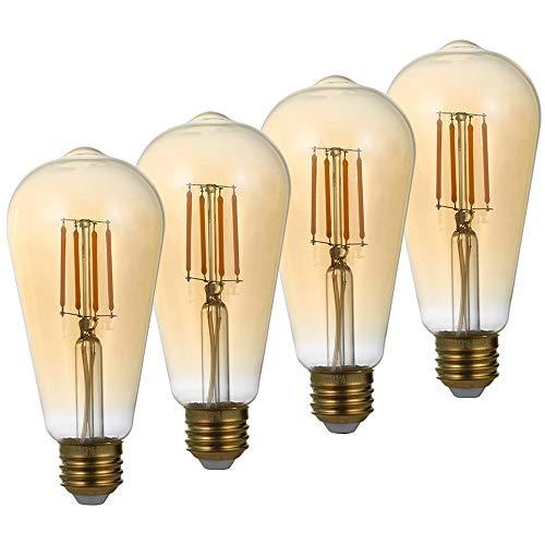 LED Edison Bulb ST21 4W, Amber Glass 2200K Warm White 120V Vintage LED Filament Light Bulb, 30W Equivalent with E26 Lamp Base, Dimmable, Pack of 4