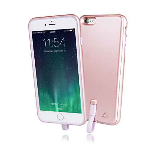 Imazing (MFI) iPhone 6 Plus / iPhone 6S Plus Extended Rechargeable Detachable Battery Bumper Case 4000mah (Rose Gold)