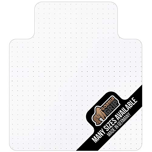 Gorilla Grip Premium Polycarbonate Studded Chair Mat for Carpeted Floor, 48x36, Unbreakable, Easy Glide Transparent Mats for Chairs, Good for Desks, Office and Home, Protects Floors, with Lip, Clear