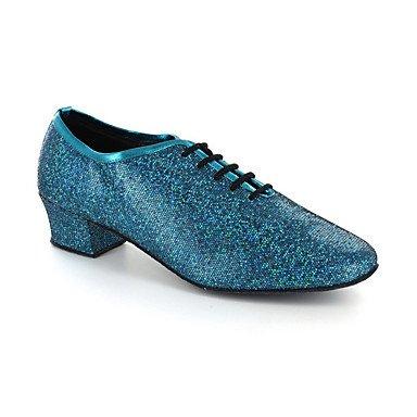 XIAMUO Nicht anpassbar - Die Frauen tanzen Schuhe Modern/Ballsaal/Praxis Schuhe Kunstleder Ferse Silber/Grau, Grau, US 8 / EU 39/UK6/CN 39