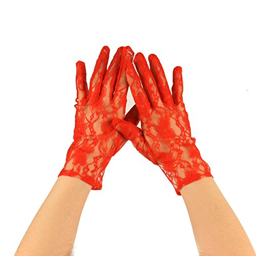 Sexy Floral Sheer Lace Tea Party Vintage Style Short Wrist Dressy Gloves Red -