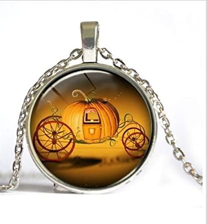 vintage pumpkin car cabochon tibetan silver glass chain pendant necklace vintage halloween necklace pumpkin patch