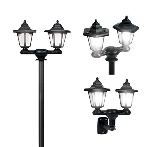 Collections Etc 3-in-1 Solar Outdoor Lamp Pole with Dual Lanterns - Stake or Mountable Light