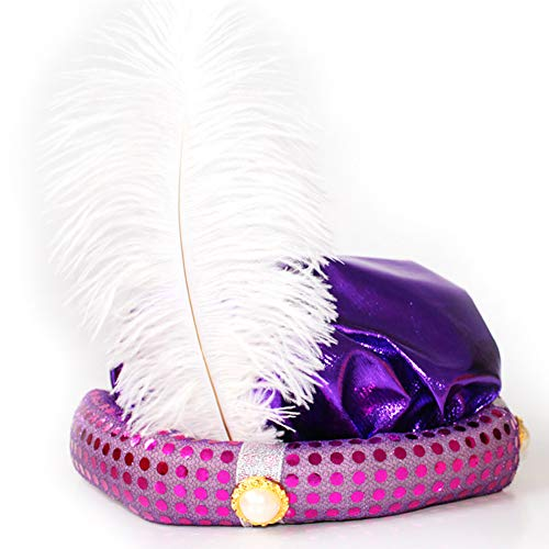 Naisidier Hat with Feather Glitter Color Performance Hat for Halloween Costume Party(Purple)