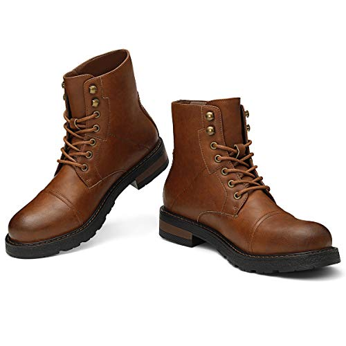 - PIQYDNA Men's Motorcycle Work Dress Boots - Lace Up Cap Toe Military Tactical Combat Hiking Botas Invierno Hombre Brown 7