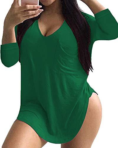 ULTRANICE Womens Casual Scoop Neck Plus Size Tshirt 3/4 Sleeve Tops Tee with - Pocket Scoop Tee