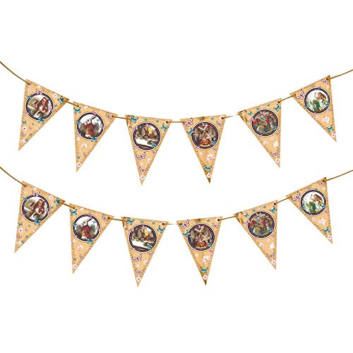 Alice in Wonderland Bunting Hanging Vintage Look Party Supplies for Mad Hatter Tea Parties