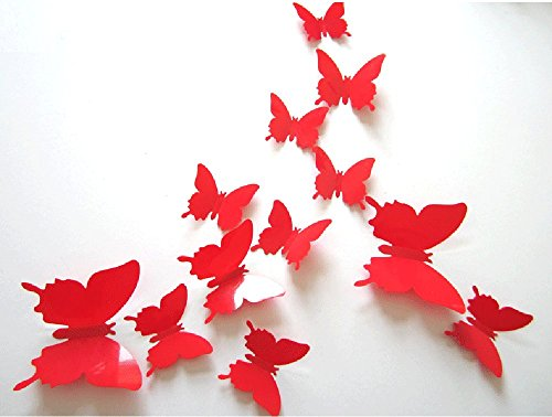 CuteProduct 12Pcs 3d Butterfly Removable Wall Decals Diy Home Decorations Art Decor Wall Stickers Murals for Babys Kids Bedroom Living Room Classroom Office(Color - Home Interior Decor
