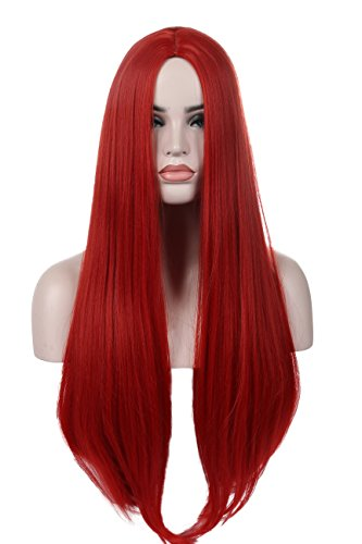 Kalyss Red Women's Wig Long Straight Centre Parting No Lace Front Synthetic Cosplay Costume Full Hair Wig for -