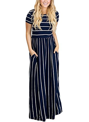 HOTAPEI Women's Summer Casual Loose Striped Long Dress Short Sleeve Pocket Maxi Dress Navy Blue -