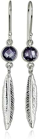 Fashionable Feather Earrings 925 Sterling Silver Dangle Earrings with Purple Cubic Zirconia