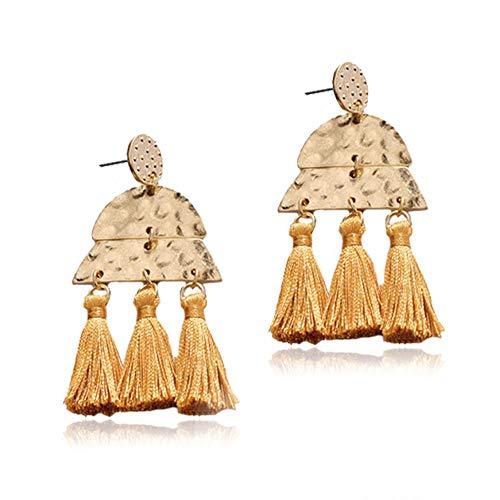 Tassel Statement Earrings Bohemian Bead Handmade Drop Dangle Earrings for Women Girls (3T-Brown) (Brown Drop Earrings)