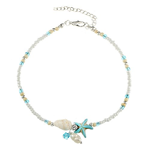 Diane Lo'ren Anklets For Women Anklet White Mini Beads Blue Stone Starfish Glass Bead and Pearl Charms Chain Foot Beach Jewelry Charm Ankle Bracelets Women ()
