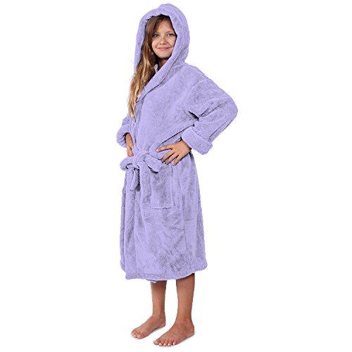 (Indulge Plush Hooded Robe for Kids, Soft Fleece Bathrobe for Girls ans Boys, Made in Turkey (Small, Lavender))