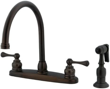 Kingston Brass Kb725blbs Vintage Gooseneck Kitchen Faucet With Brass Sprayer Oil Rubbed Bronze Touch On Kitchen Sink Faucets Amazon Com