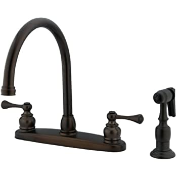 Kingston Brass KB725BLBS Vintage Gooseneck Kitchen Faucet With Brass  Sprayer, Oil Rubbed Bronze