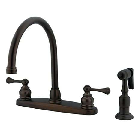 Kingston Brass KB725BLBS Vintage Gooseneck Kitchen Faucet With Brass  Sprayer, Oil Rubbed Bronze