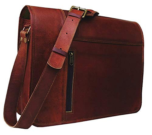 Leather Laptop Messenger Bag Vintage Briefcase Satchel for Men and Women- 16 Inch by Vintage Couture (redddies Brown)