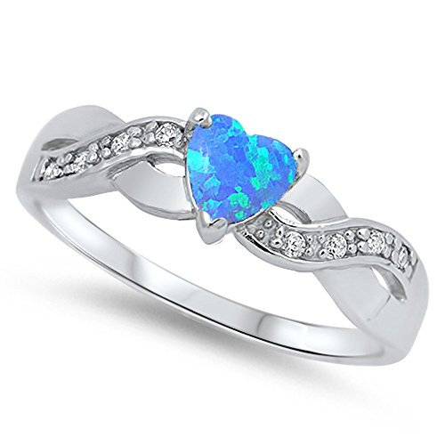 - Heart Infinity Knot Blue Simulated Opal Promise Ring .925 Sterling Silver Size 5