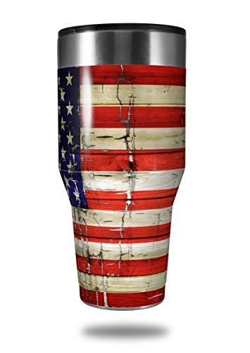 Skin Decal Wrap for Walmart Ozark Trail Tumblers 40oz Painted Faded and Cracked USA American Flag (TUMBLER NOT INCLUDED) by ()