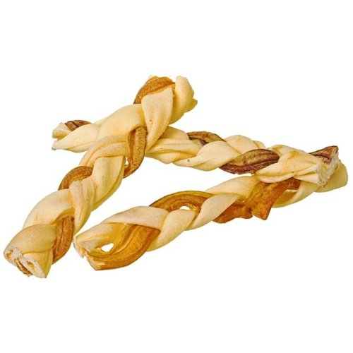 Bully Stick Rawhide Braids for Dogs - Natural Bulk Dog Dental Treats & Healthy Chew, Beef Best Low Odor Pizzle Stix