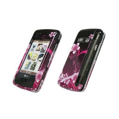 Premium Purple Heart and Flowers Design Snap-On Cover Hard Case Cell Phone Protector for LG enV Touch VX11000 [Accessory Export Brand (Env Touch Phone)
