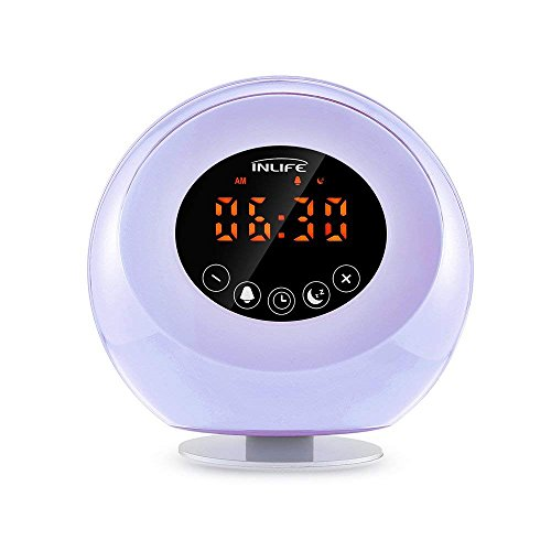 Wake Up Light Sunrise Alarm Clock 2018 Upgraded Digital LED Clock with 6 Changing Colors Night Light, Multiple Nature Sounds, FM Radio, Snooze Function, Touch Control, Support TF Card
