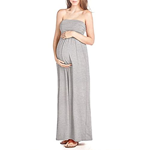 Beachcoco Womens Maternity Comfortable Maxi Tube Dress (L, Heather Grey)