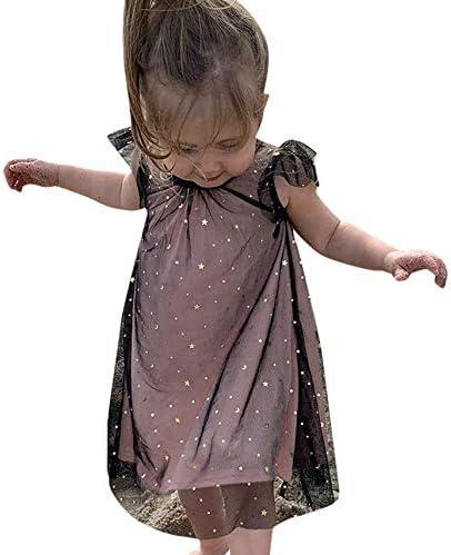 Willsa Girls Dresses Cute Toddler Kids Baby Short Sleeve Print Princess Dress Casual Mesh Clothes