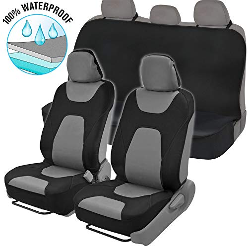 (NeoCloth Waterproof Car Seat Covers Protector Full Set w/Back Bench - Heavy Duty Black/Gray )