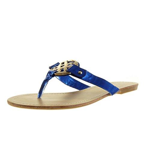 Angkorly - Chaussure Mode Sandale femme boucle doré Talon bloc 1 CM - Bleu
