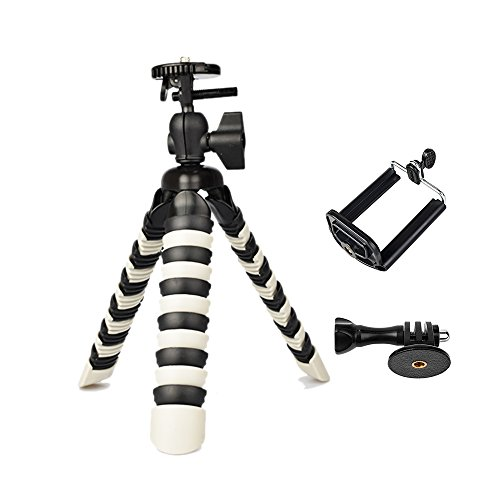 3 in 1 Universal Flexible Tripod 8'' Stand Holder Wrapable Leg with Quick Release Plate and Cell Phone Mount Adapter for Camera DSLR Smartphones (8 inch Tripod-Black&Grey)