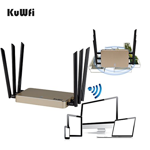 KuWFi High Power Wireless Gigabit Router, wireless Gigabit Access Point 802.11 ac router 1200Mbps Cover Long Area Support more than 100Users easy to Use Through walls 2000mW 128M DDR2 RAM for Home by KuWFi (Image #7)