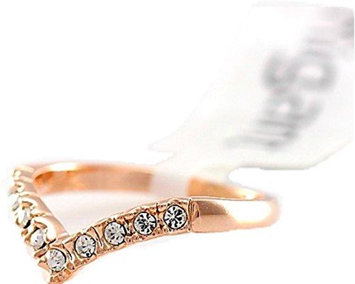 MiAnMiAn V Shape Swarovski Crystal Engagement Simple Ring Rose 18K GP White - Rose Gp