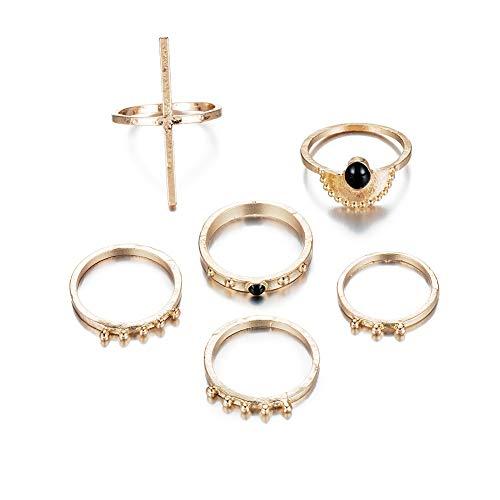 DesirePath Ladies Vintage 6 Pcs Fashion Chic Cross Knuckle Ring Set Jewelry Golden