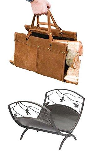 Panacea Oak Leaf Log Bin and Leather Log Tote
