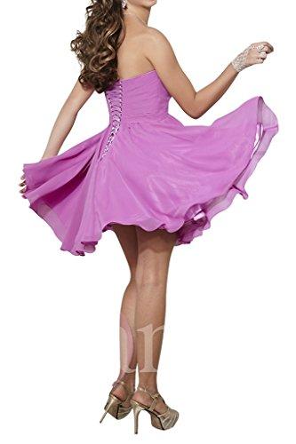 Heimkehr Abendkleider Violett La Schnuerung Cocktailkleider Tanzenkleider Steine Kurz Braut Festlich mia Chiffon qx8Hw4