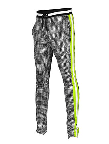 SCREENSHOTBRAND-P11957 Mens Hip Hop Premium Slim Fit Track Pants - Athletic Jogger Checker Pattern Color Block Print Bottoms-Black/Neon-XLarge