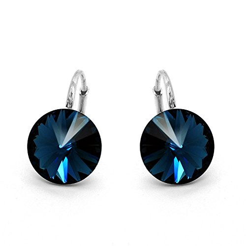 Sterling Silver Made with Swarovski Crystals Montana Blue Round Leverback Earrings, 0.70