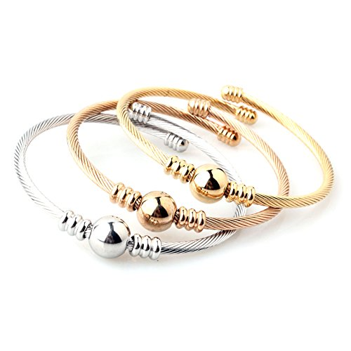 Twist Wire Bracelet - 3pcs Womens Stainless Steel Adjustable Charm Silver Gold Rose Gold Bead Twist Cable Wire Bracelet Set