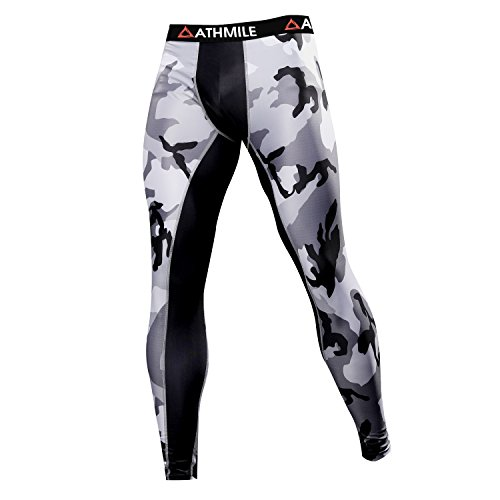 Athmile Men's Sports Compression Cool Dry Pants Workout Tights Running Base layer Leggings for Hiking,Marathon,Basketball,Exercise and Fitness