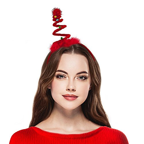 Lux Accessories Red Fabric Headband Christmas Xmas Coil Jingle Bell Headband (Bells Jingle Buy To)