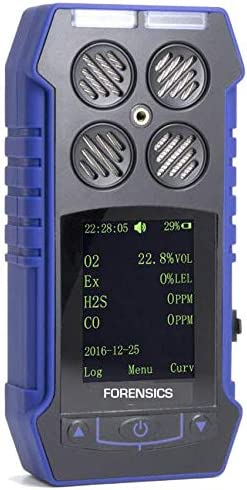 MULTIGAS Detector O2, CO, H2S, LEL by Forensics Color Display Graphing Data Logging USA NIST Calibration USB Recharge Battery