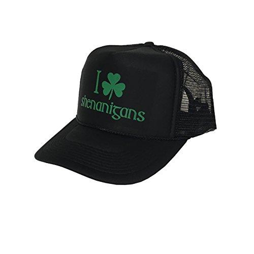 P&B I Shamrock Shenanigans, St Patrick's Day Campaign Adjustable Unisex Hat Cap (Black)