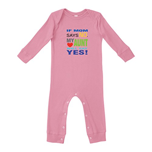 Baby Says Long Sleeve Bodysuit - Cute Rascals If Mom Says Mo My Aunt Will Say Yes Cotton Long Sleeve Envelope Neck Unisex Baby Legged Long Rib Coverall Bodysuit - Soft Pink, 6 Months