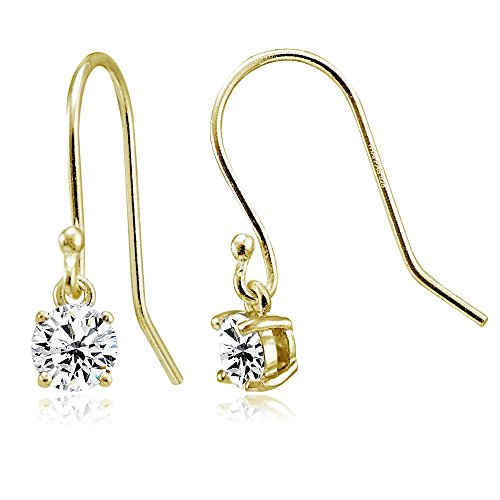 Yellow Gold Flashed Sterling Silver Cubic Zirconia Round Dangle ()