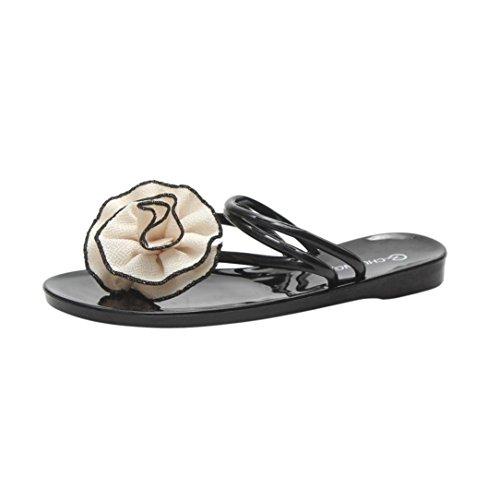 Momola Damen Zehentrenner Damen Flip Flops Mädchen Sommer Sandalen Blume Geflochtene T-Strap Sandalen Flats Thong Strand Hausschuhe (37, Beige)