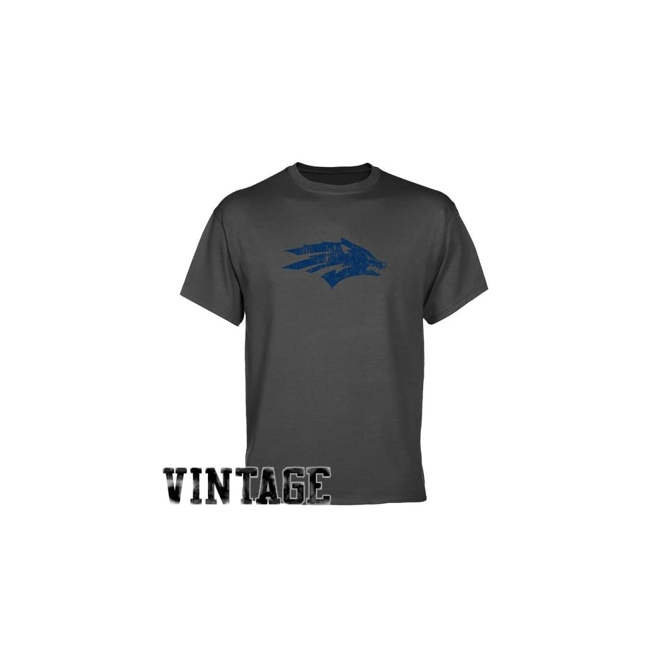 NCAA Nevada Wolf Pack Charcoal Distressed Logo Vintage T shirt