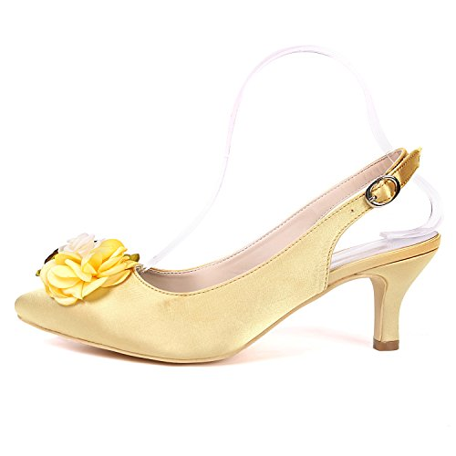 Slingback Flower 20H Femmes Heels Escarpins Ager Cour Robe 1608 Champagne EU43 UK10 Chaussures Chaussures Mid rxSqrXwt
