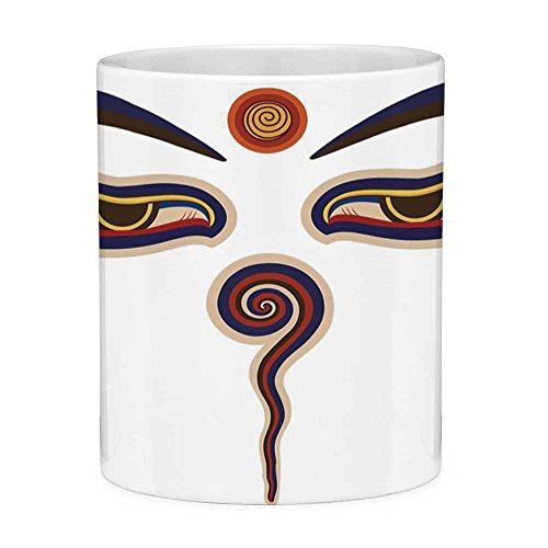 Funny Coffee Mug with Quote Eye 11 Ounces Funny Coffee Mug Spiritual Eyes of Asian Religious Figure Ancient Culture Heritage Mystical Design Art Decorative Multicolor
